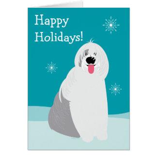 Viejo navidad inglés del perro pastor buenas tarjeta de felicitación