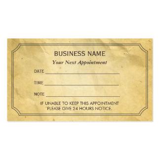 Viejo recordatorio de papel enmarcado vintage de l tarjetas de visita