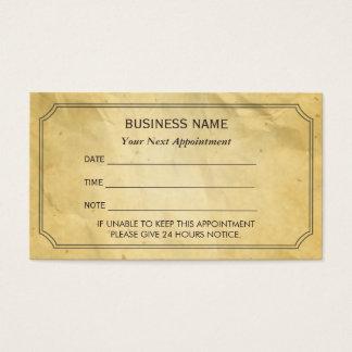 Viejo recordatorio de papel enmarcado vintage de tarjeta de negocios