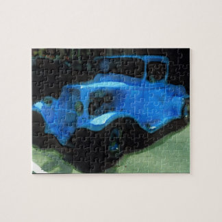 Viejo rompecabezas azul del camión