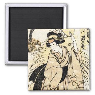 Viejo tatuaje japonés fresco del geisha del ukiy-o imán cuadrado