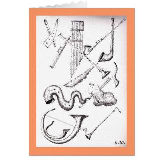 viento musical instruments3 tarjeta de felicitación