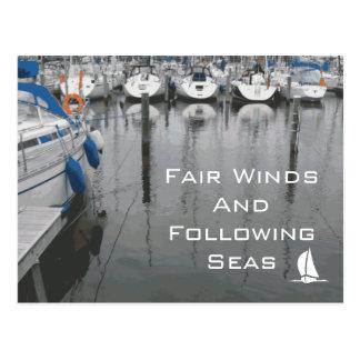 Vientos justos y frase de siguiente de los mares d postal