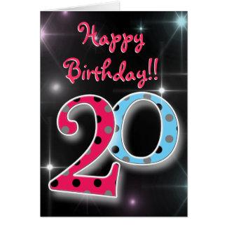 Vigésima diversión feliz del cumpleaños y tarjeta