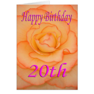 Vigésima flor feliz del cumpleaños tarjeta de felicitación