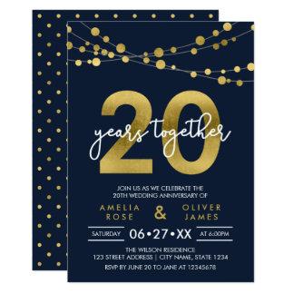 Vigésimo aniversario de boda de las luces invitación 12,7 x 17,8 cm