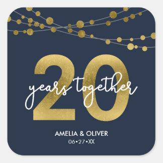 Vigésimo aniversario de boda de las luces pegatina cuadrada
