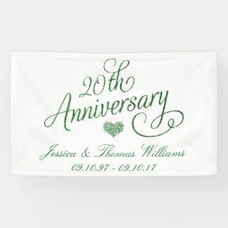 vigésimo Aniversario de boda esmeralda Lona