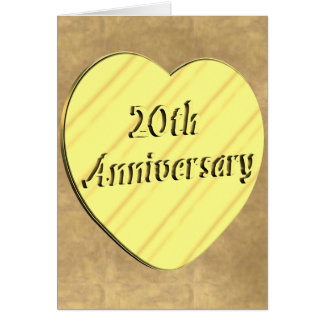 vigésimo Aniversario de boda Tarjeta De Felicitación