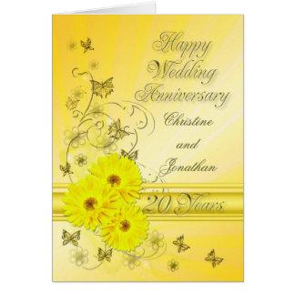 Vigésimo aniversario de las flores fabulosas para tarjeta de felicitación
