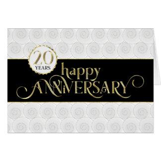 Vigésimo aniversario del empleado - oro negro tarjeta de felicitación
