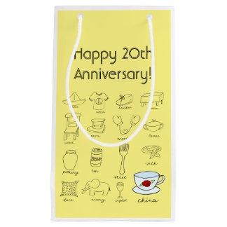 Vigésimo bolso feliz del aniversario de boda para bolsa de regalo pequeña