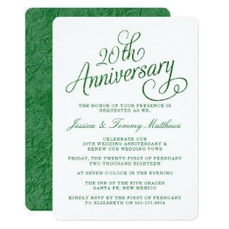 vigésimo Invitaciones esmeralda del aniversario de Invitación 12,7 X 17,8 Cm