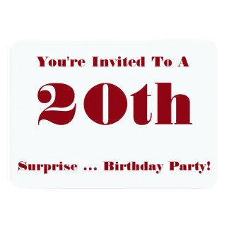 vigésimo La fiesta de cumpleaños de la sorpresa Invitación 11,4 X 15,8 Cm