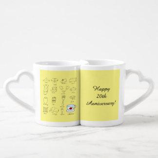 Vigésimo regalo feliz del aniversario de boda para set de tazas de café