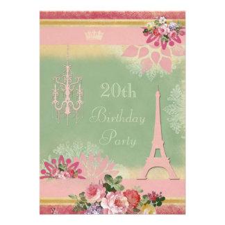 vigésimo Torre Eiffel y lámpara rosadas del cumple