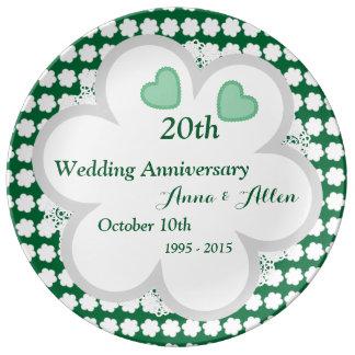 vigésimo Verde esmeralda W20F del aniversario de Plato De Porcelana