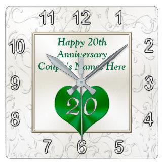 Vigésimos regalos personalizados del aniversario, reloj cuadrado