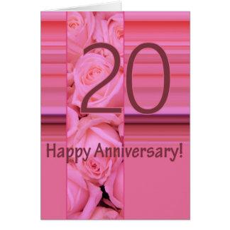 Vigésimos rosas felices del aniversario tarjeta de felicitación