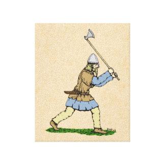 Viking que maneja el Amplio-Hacha Lienzo