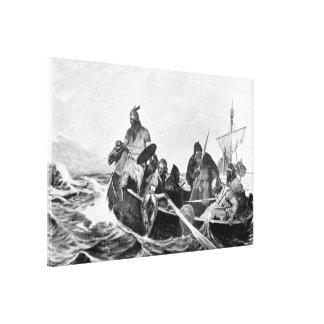 Vikingos que aterrizan en Islandia Illustration Lienzo