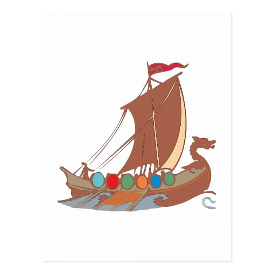Vikings dragon vikingo barca de dragón boat postal