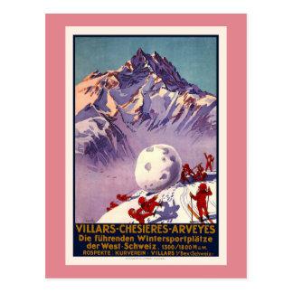 Villars, Suiza, poster del viaje del vintage Postal