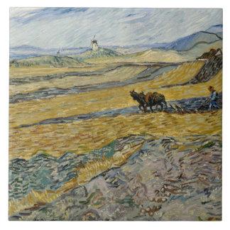 Vincent van Gogh - campo incluido con el labrador Azulejo Cuadrado Grande