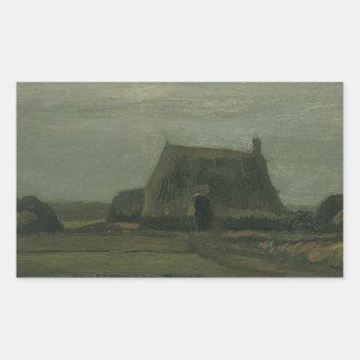 Vincent van Gogh - granja con las pilas de turba Pegatina Rectangular