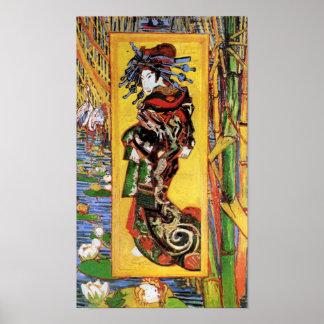 Vincent van Gogh - la cortesana - geisha japonés Póster