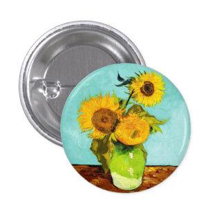Vincent van Gogh tres girasoles en un florero Chapa Redonda 2,5 Cm