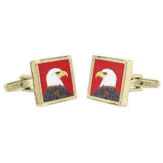 """Vínculos de puño de """"Eagle calvo americano"""" Gemelos Dorados"""