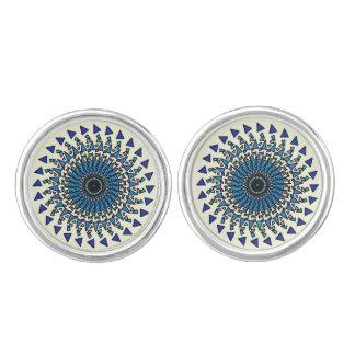 Vínculos de puño tribales geométricos blancos gemelos
