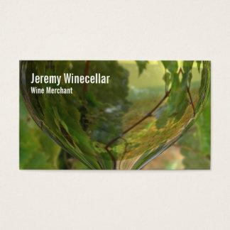 Viñedo blanco de la copa de vino tarjeta de negocios