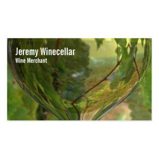 Viñedo blanco de la copa de vino tarjetas de visita