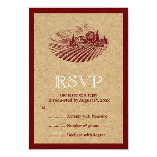 Viñedo y corcho del vintage que casan la invitación 8,9 x 12,7 cm