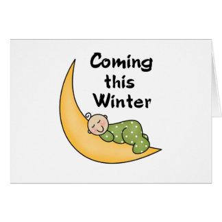 Viniendo este invierno tarjeta de felicitación