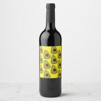 Vino, aguacates de la etiqueta de la botella del