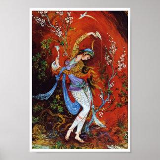 Vino de colada de pintura del chica persa del póster