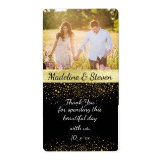 Vino del boda, confeti del oro, foto de encargo etiquetas de envío