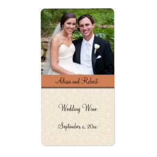 Vino del boda, etiqueta de encargo de la foto etiquetas de envío