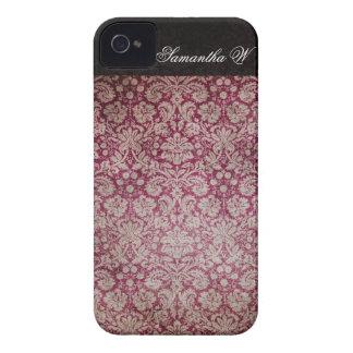Vino del damasco del vintage, caja personalizada Case-Mate iPhone 4 protectores