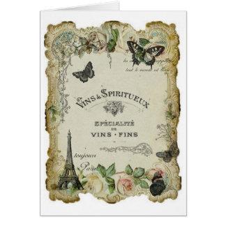 Vino del vintage de París y tarjeta de los rosas