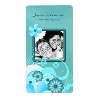 Vino floral del favor de la foto del boda del etiqueta de envío