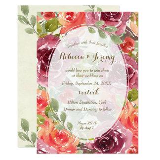 vino floral moderno de la invitación del boda del