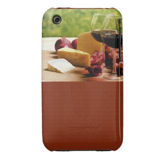 Vino, queso y fruta del campo funda para iPhone 3 de Case-Mate
