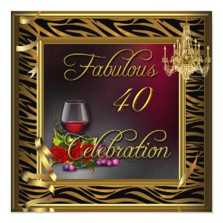 Vino rosado 40 de la celebración de la cebra invitación 13,3 cm x 13,3cm