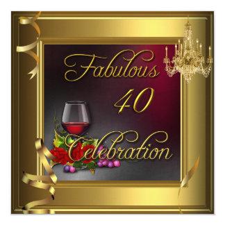 Vino rosado 40 de la celebración fabulosa poner invitación 13,3 cm x 13,3cm