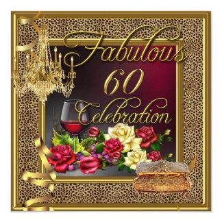 Vino rosado 60 de la celebración 60.a fabuloso del invitación 13,3 cm x 13,3cm