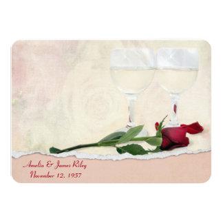 Vino y fiesta de aniversario color de rosa invitación 11,4 x 15,8 cm